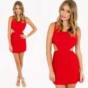Red cut out lined dress